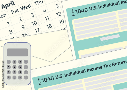 2019, 2018 Tax Form 1040 and the envelope, a calendar and calculator