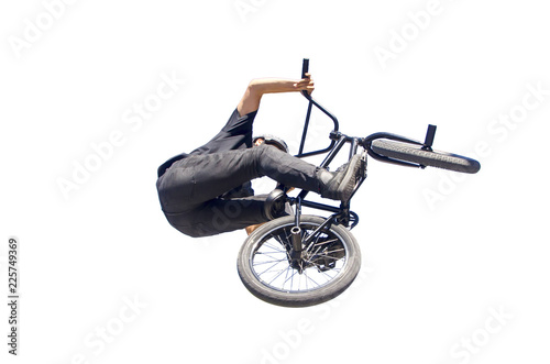 Stampa su Tela bmx biker performing a jump isolated over white