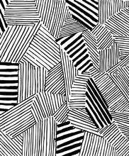 Abstract  Black Strokes, Hand Sketched Vector Pattern.  Retro Abstract Pattern In Geometric Style. Abstract Multicolored Geometric Pattern.