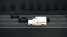 Loop Of Ambulance On Emergency Call. Life Saving, Medic, Doctor, Urgency.