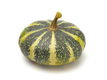 Round Green And Yellow Gourd On A White Background