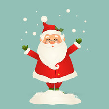 Cute, Cheerful, Funny Santa Claus With Glasses, Waving Hands And Greeting, Falling Snow, Snowdrift Isolated. Santa Clause For Winter And New Year Holidays. Happy Santa Claus Cartoon Character.