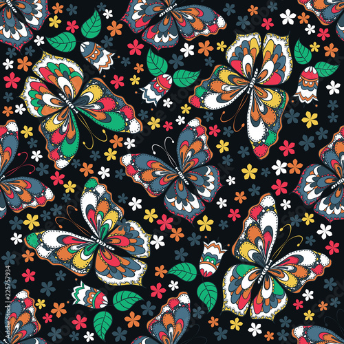 Foto op Aluminium Schepselen Seamless texture. Vector seamless pattern in doodle style. Multicolor pattern of butterflies, flowers and leaves.