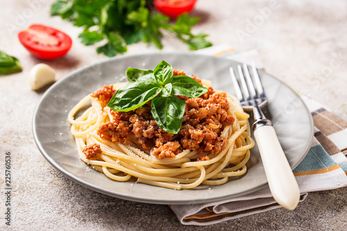 Fotografiet  Pasta Bolognese. Spaghetti with meat sauce