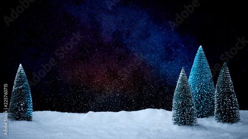 Fototapeta Verschneiter Weihnachtsbaum vor tiefblauem Hinterdrund mit Schnee obraz
