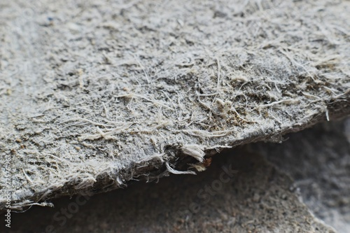 Photo Detailed photography of roof covering material with asbestos fibres