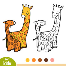 Coloring Book, Two Giraffes