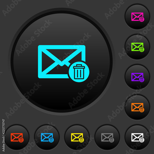 Fotografía  Draft mail dark push buttons with color icons