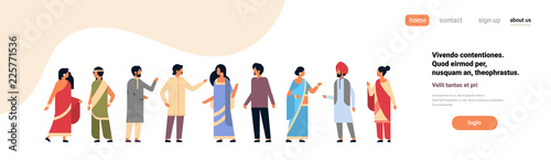 Stampa su Tela indian people group wearing national traditional clothes hindu man woman communication concept male female cartoon character full length isolated horizontal banner copy space flat vector illustration