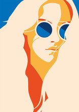 Illustration Of Woman With Long Hair Wearing Sunglasses