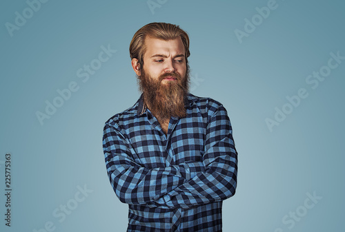 Fototapeta jealous envious bearded hipster man