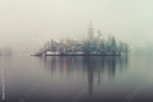 Fotografie, Tablou  anoramic view of Bled lake in the morning, Slovenia