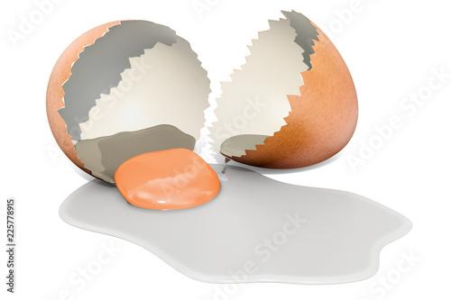 Broken brown chicken egg, 3d rendering