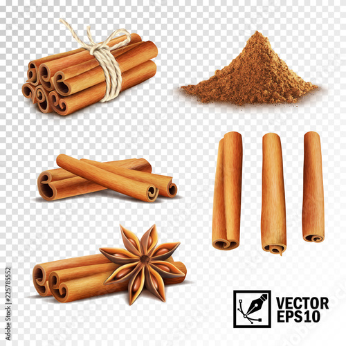 Foto 3d realistic vector set of cinnamon ( cinnamon sticks tied with a rope, anise st