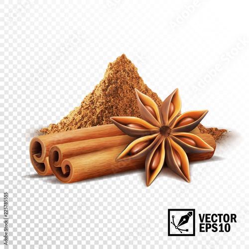 Cuadros en Lienzo 3d realistic vector set of cinnamon sticks, anise stars and a pile of cinnamon