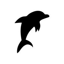 Black And White Jumping Dolphin Sea Animal Symbol, Vector Illustration