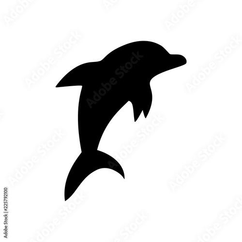 Canvas Print Black and white jumping dolphin sea animal symbol, vector illustration
