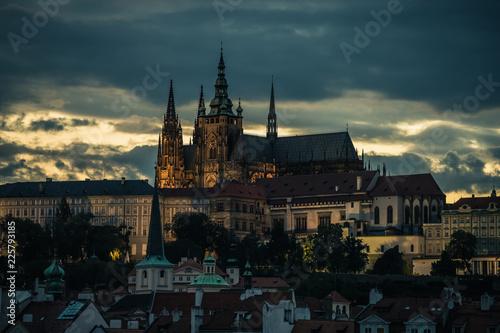 Tuinposter Fantasie Landschap Prague Cathedral at night