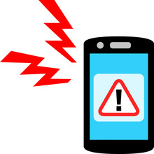 緊急速報のアラームが鳴るスマートフォン