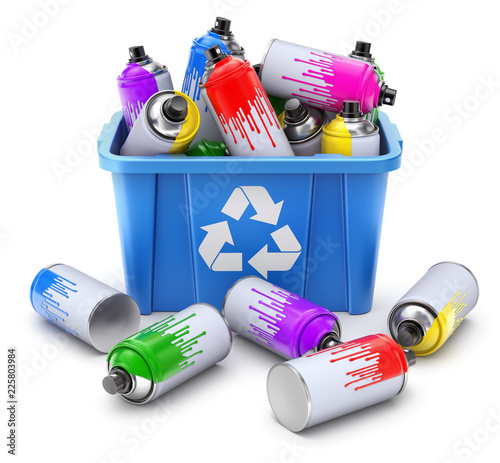 Spray cans in blue recycle crate on white background © mipan