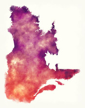 Quebec Province Watercolor Map Of Canada In Front Of A White Background