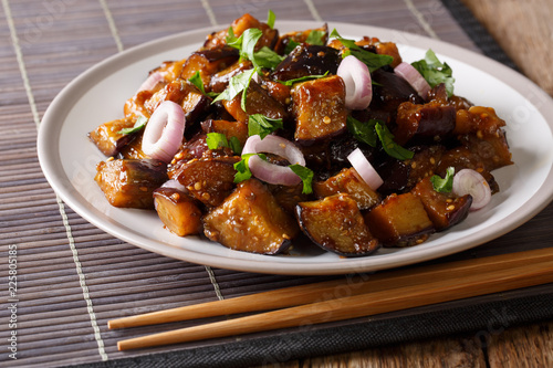Spicy Sichuan eggplant is also known as fish fragrant eggplant (Yu Xiang) closeup on a plate. Horizontal