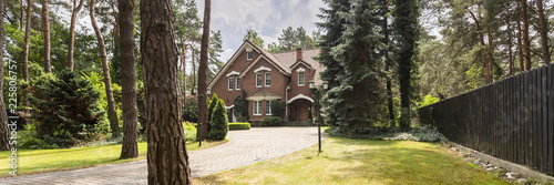 Fotografie, Obraz  A long paved driveway surrounded by lawn, trees and evergreens leading to a red brick English style house
