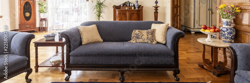 Photo A stylish living room interior with antique furniture