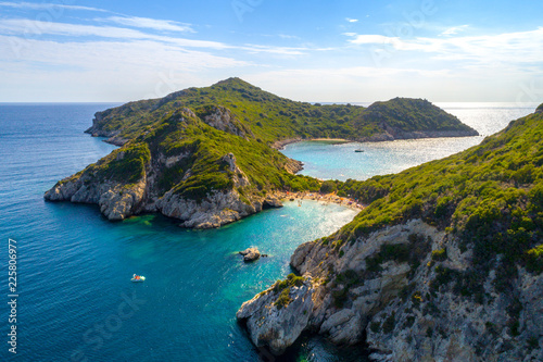 Fotografia, Obraz  Porto Timoni is an amazing beautiful double beach in Corfu Island, Greece
