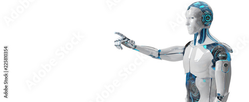 White male cyborg pointing his finger 3D rendering Wallpaper Mural