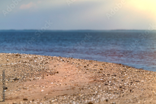 Foto op Canvas Kust Beautiful seaside view for salt sea and summer coast with gold sea sand. Outdoor relax beach for vacation or relax.