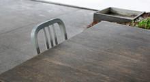 Empty Wooden Table And Alumini...
