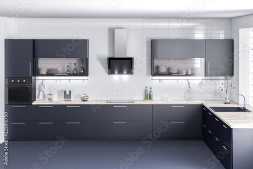 Fotografía  Dark kitchen furniture, kithen, modern food room, beatyful design 3d rendering