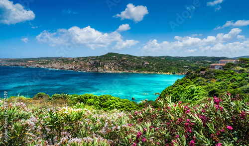 Fototapeta Landscape with sea and coast of Santa Teresa di Gallura in north Sardinia island