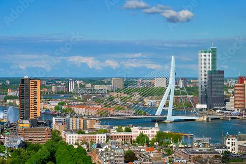 Staande foto Rotterdam View of Rotterdam city and the Erasmus bridge