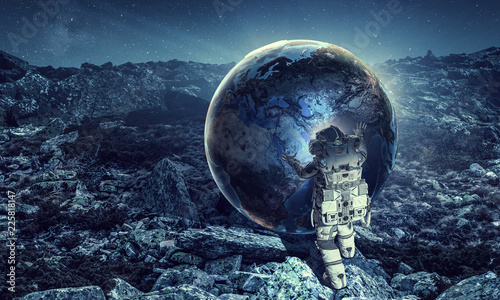 Wall Murals Nasa Spaceman and his mission. Mixed media