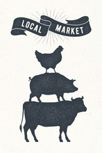 Poster For Local Market. Cow, ...