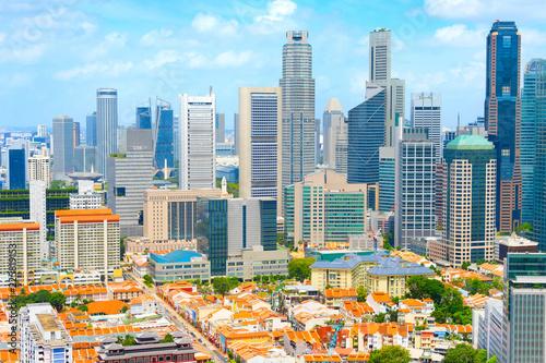 Fotobehang Aziatische Plekken Aerial Skyline Singapore Downtown Chinatown