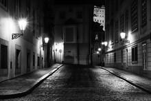 Empty Street At Night In Prague