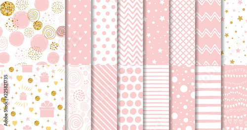 fototapeta na lodówkę Set of sweet pink seamless pattern Pink dotted background collection Baby girl geometric ornamental template vector