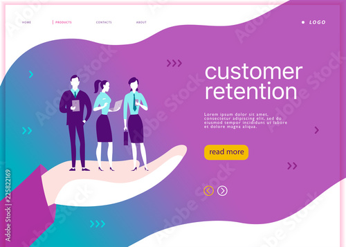Photo  Vector web page concept design - customer retention theme