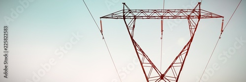 Fototapeta The evening electricity pylon silhouette