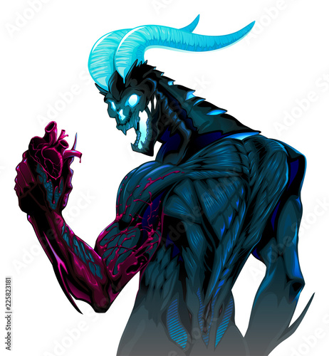 Devil with bleeding heart in his hand
