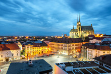 Brno Night Cityscape View, Czech Republic