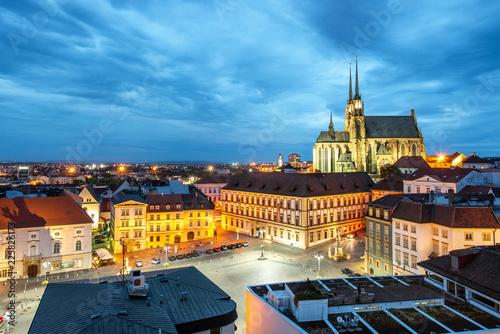 Keuken foto achterwand Centraal Europa Brno night cityscape view, Czech republic