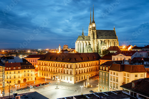 фотография  Brno night cityscape view, Czech republic