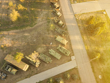 Aerial View Of Row Of Military...
