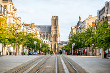 Street View With Cathedral In Reims City, France