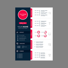 Cv Design With Line Icons Vector