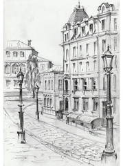Drawing of architectural structures of the old city executed from life . Historical building in the center of Kiev . Cityscape sketch handmade